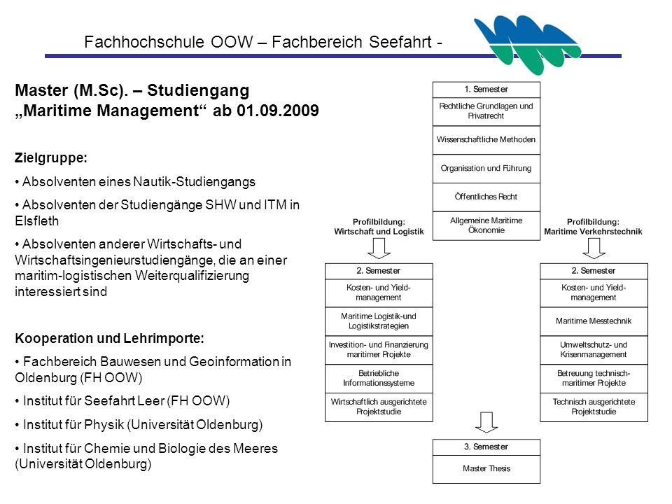 "Master (M.Sc). – Studiengang ""Maritime Management ab 01.09.2009"