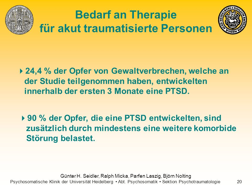 Bedarf an Therapie für akut traumatisierte Personen