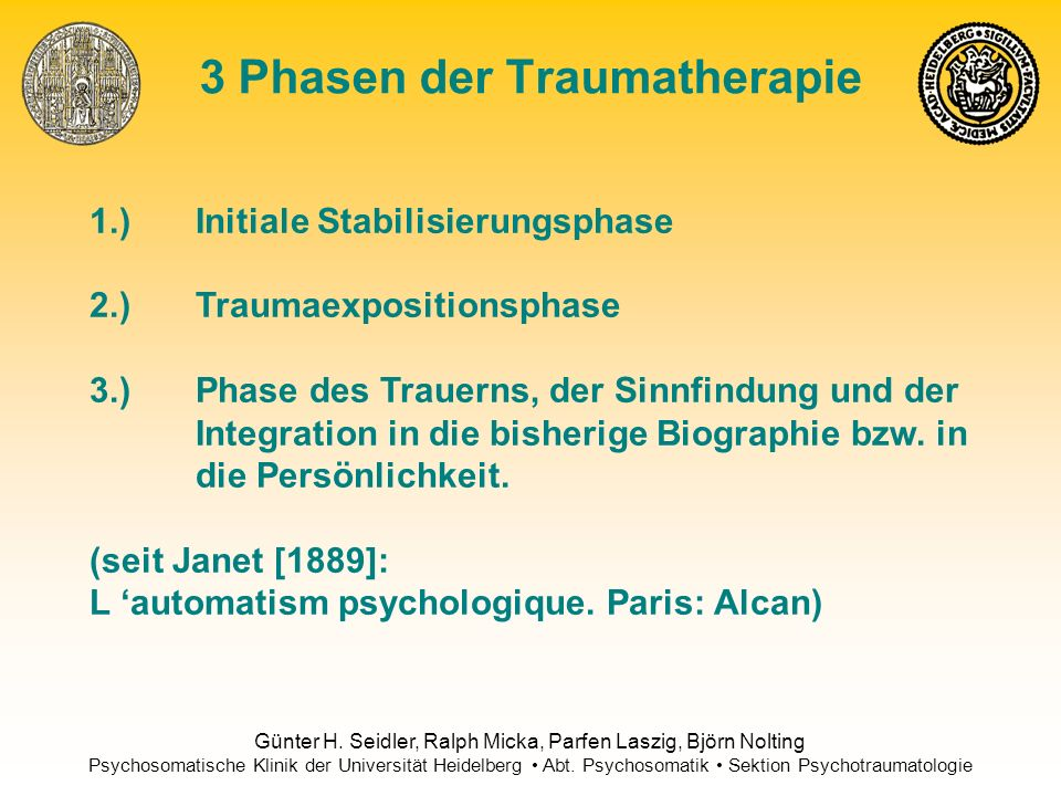 3 Phasen der Traumatherapie