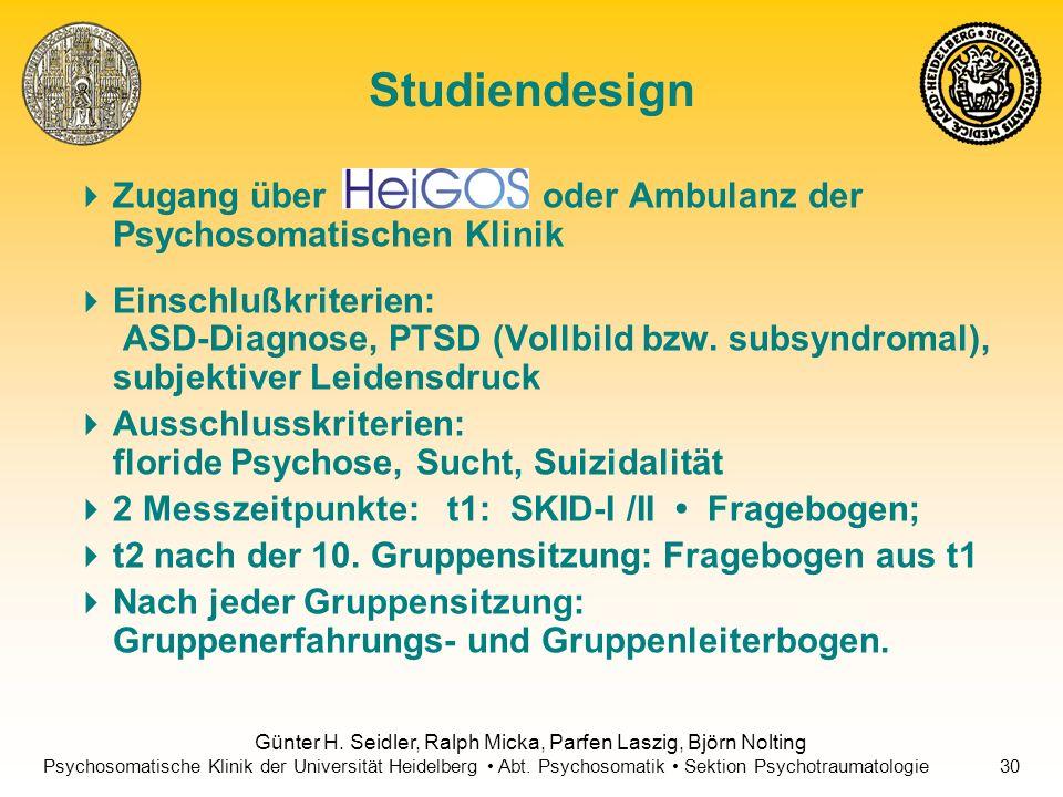 Studiendesign Zugang über oder Ambulanz der Psychosomatischen Klinik