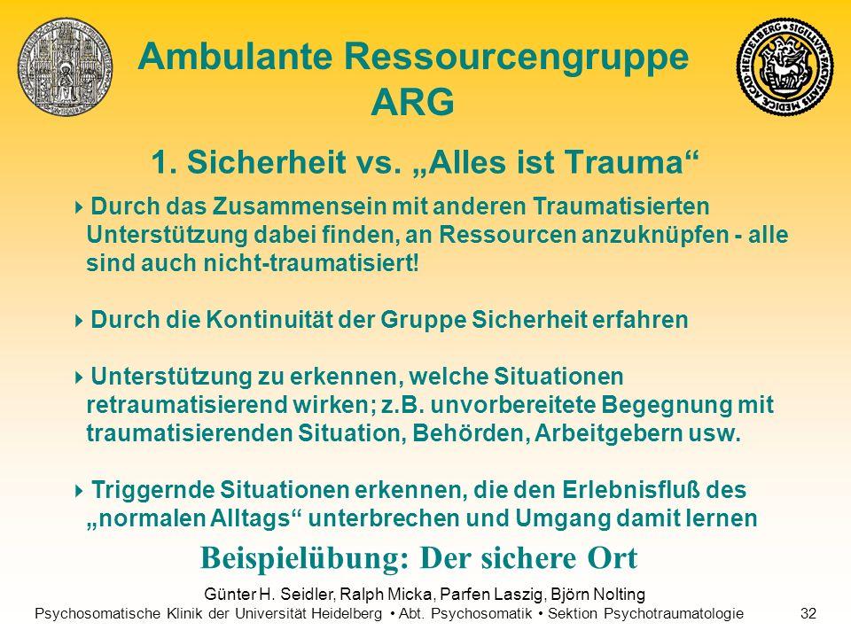 "1. Sicherheit vs. ""Alles ist Trauma"