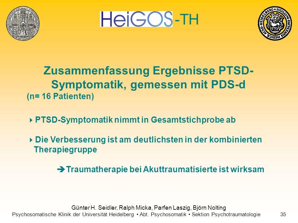 Zusammenfassung Ergebnisse PTSD-Symptomatik, gemessen mit PDS-d