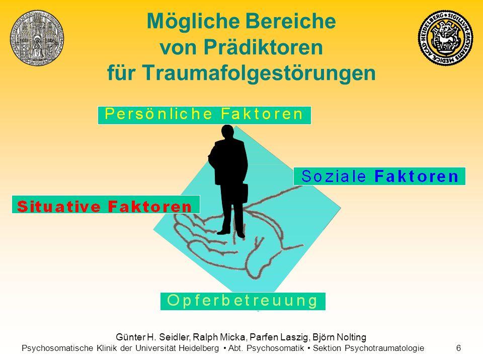 Mögliche Bereiche von Prädiktoren für Traumafolgestörungen