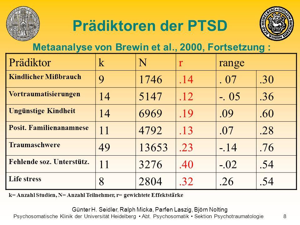 Prädiktoren der PTSD Prädiktor k N r range 9 1746 .14 . 07 .30 14 5147
