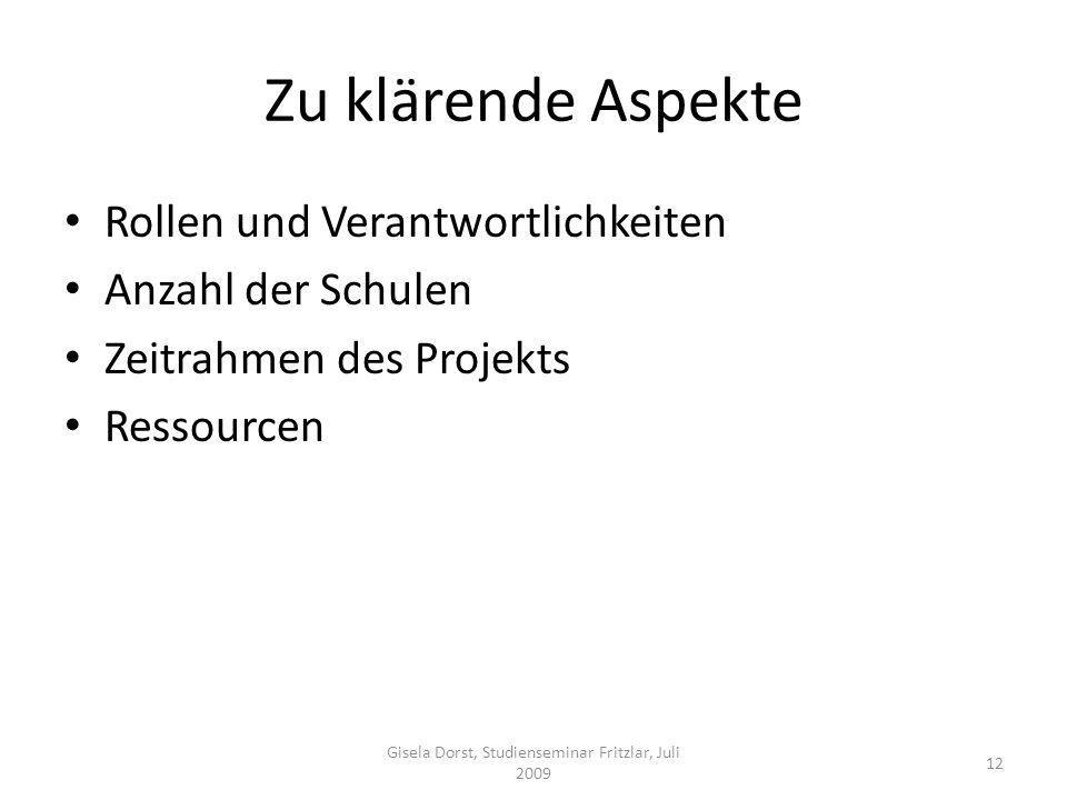 Gisela Dorst, Studienseminar Fritzlar, Juli 2009