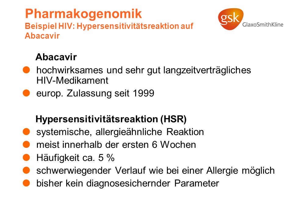 Pharmakogenomik Beispiel HIV: Hypersensitivitätsreaktion auf Abacavir