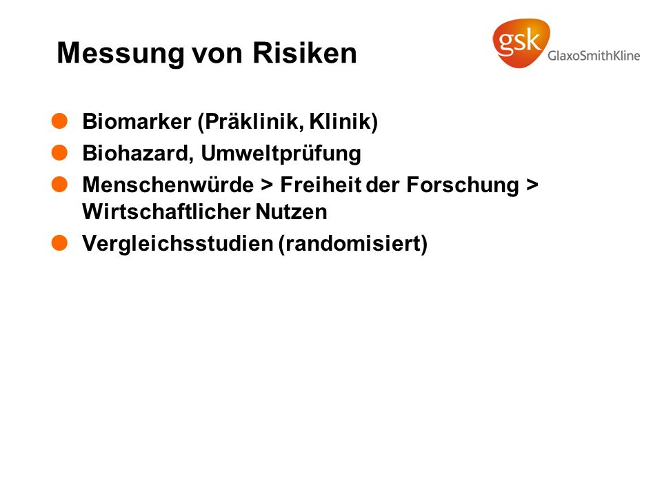 Messung von Risiken Biomarker (Präklinik, Klinik)