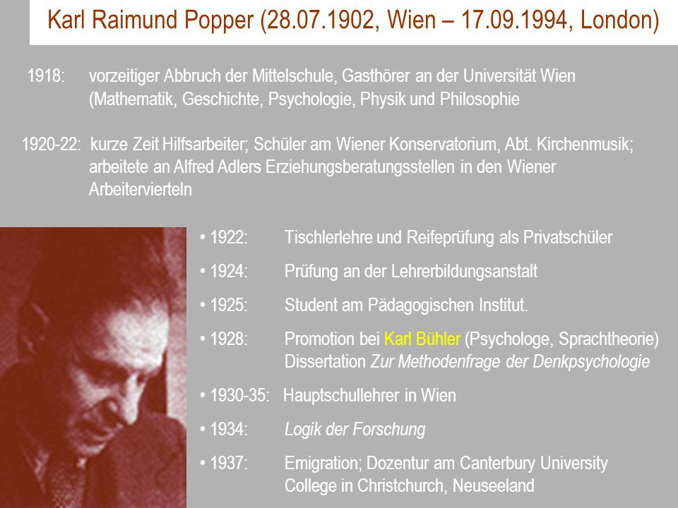 Karl Raimund Popper (28.07.1902, Wien – 17.09.1994, London)