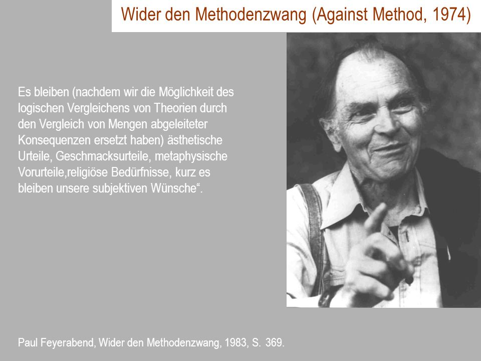 Wider den Methodenzwang (Against Method, 1974)