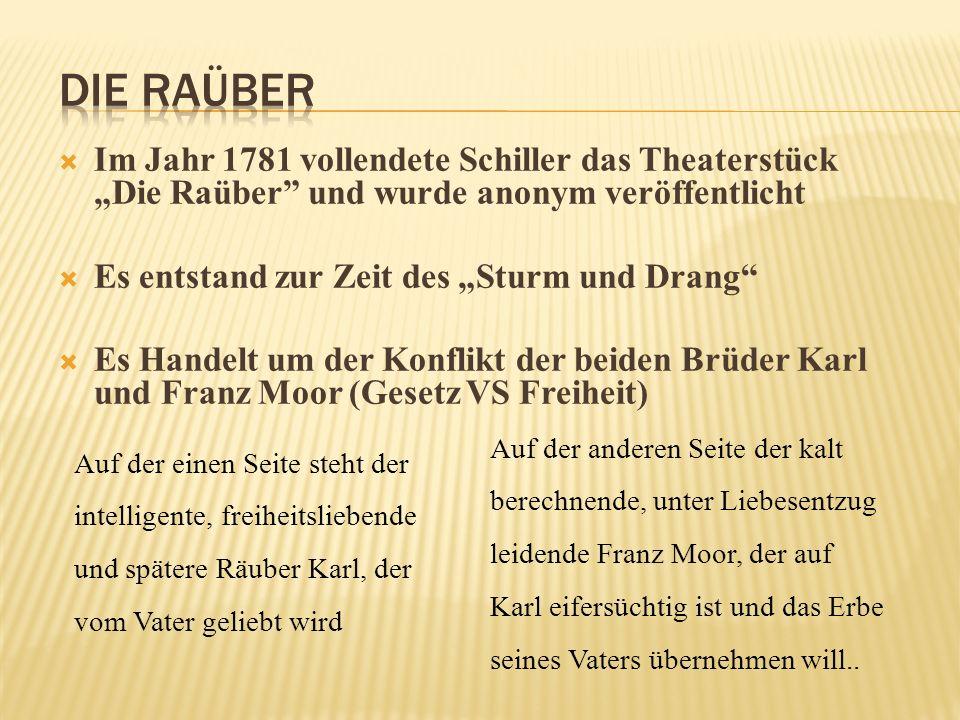 """Die Raüber Im Jahr 1781 vollendete Schiller das Theaterstück """"Die Raüber und wurde anonym veröffentlicht."""