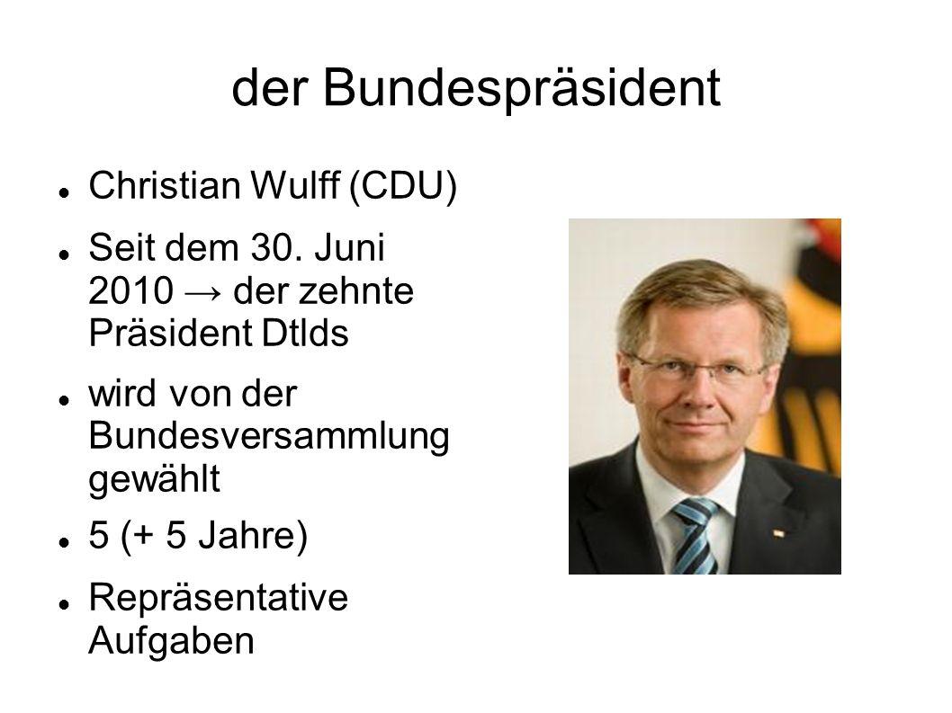 der Bundespräsident Christian Wulff (CDU)