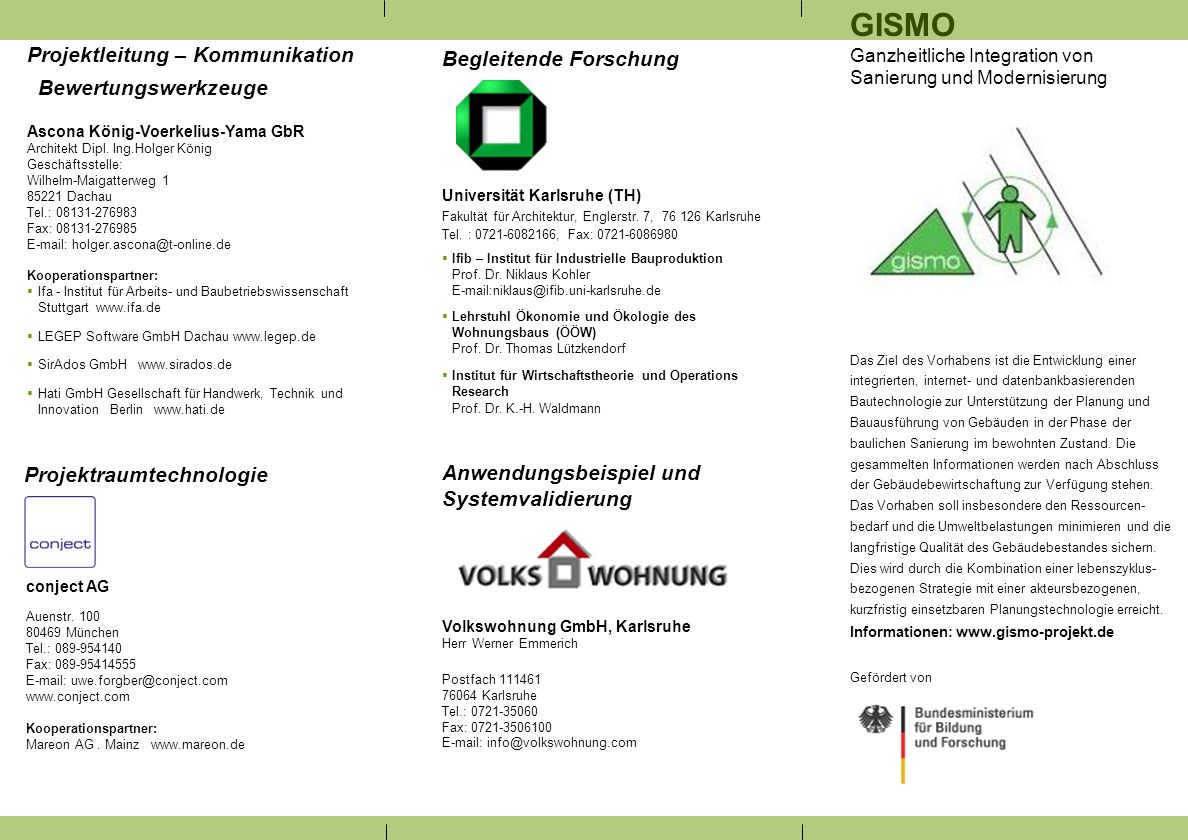 GISMO Projektleitung – Kommunikation Bewertungswerkzeuge