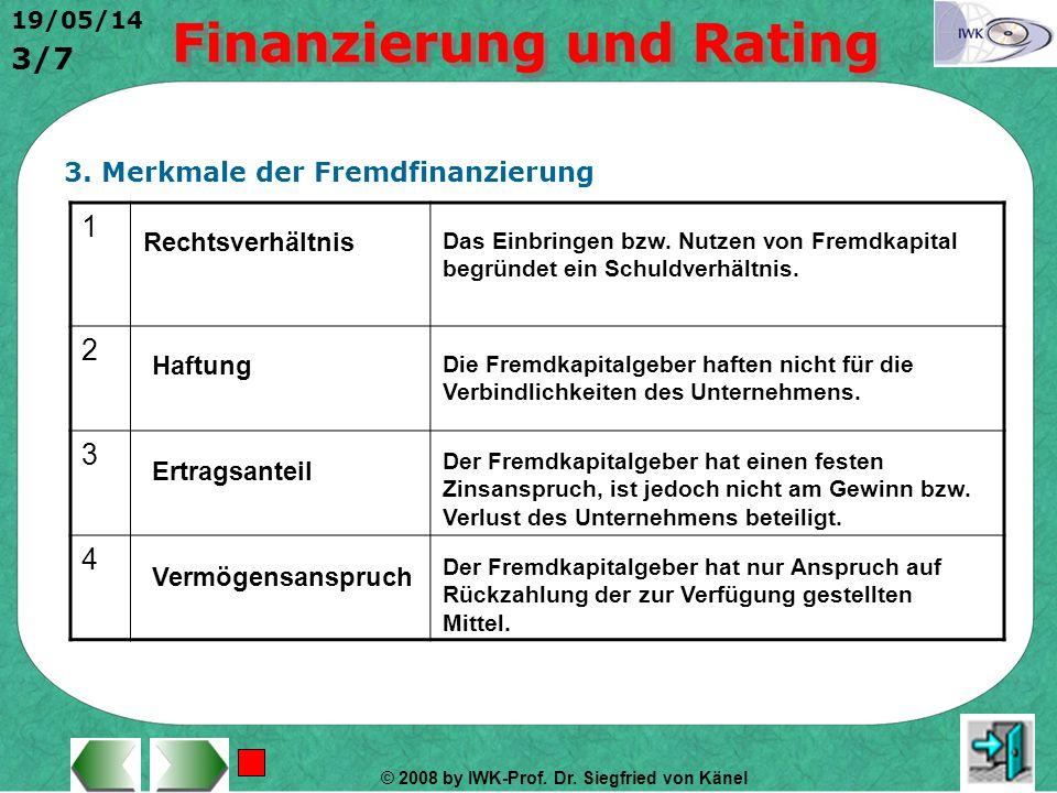 1 2 3 4 3. Merkmale der Fremdfinanzierung Rechtsverhältnis Haftung