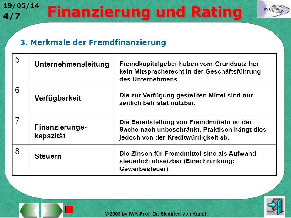 5 6 7 8 3. Merkmale der Fremdfinanzierung Unternehmensleitung