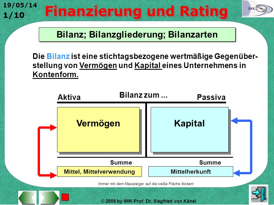 Bilanz; Bilanzgliederung; Bilanzarten Mittel, Mittelverwendung
