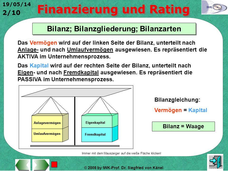 Bilanz; Bilanzgliederung; Bilanzarten