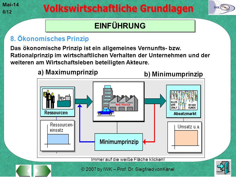 8. Ökonomisches Prinzip a) Maximumprinzip b) Minimumprinzip
