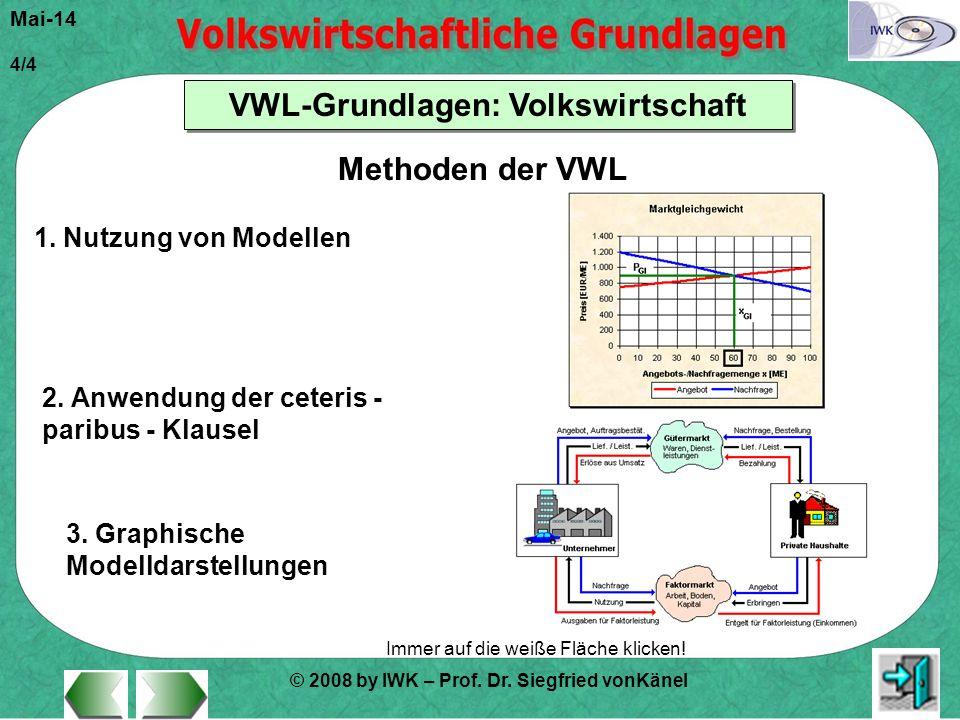 Methoden der VWL 1. Nutzung von Modellen