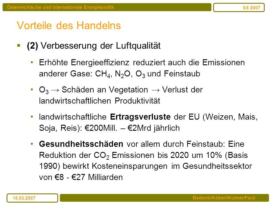 Vorteile des Handelns (2) Verbesserung der Luftqualität