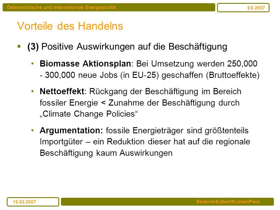 Vorteile des Handelns (3) Positive Auswirkungen auf die Beschäftigung