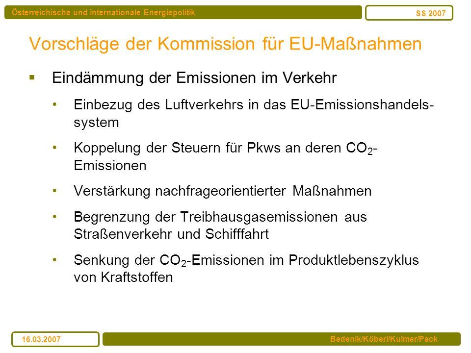 Vorschläge der Kommission für EU-Maßnahmen