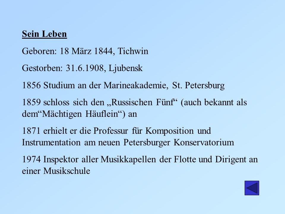Sein Leben Geboren: 18 März 1844, Tichwin. Gestorben: 31.6.1908, Ljubensk. 1856 Studium an der Marineakademie, St. Petersburg.