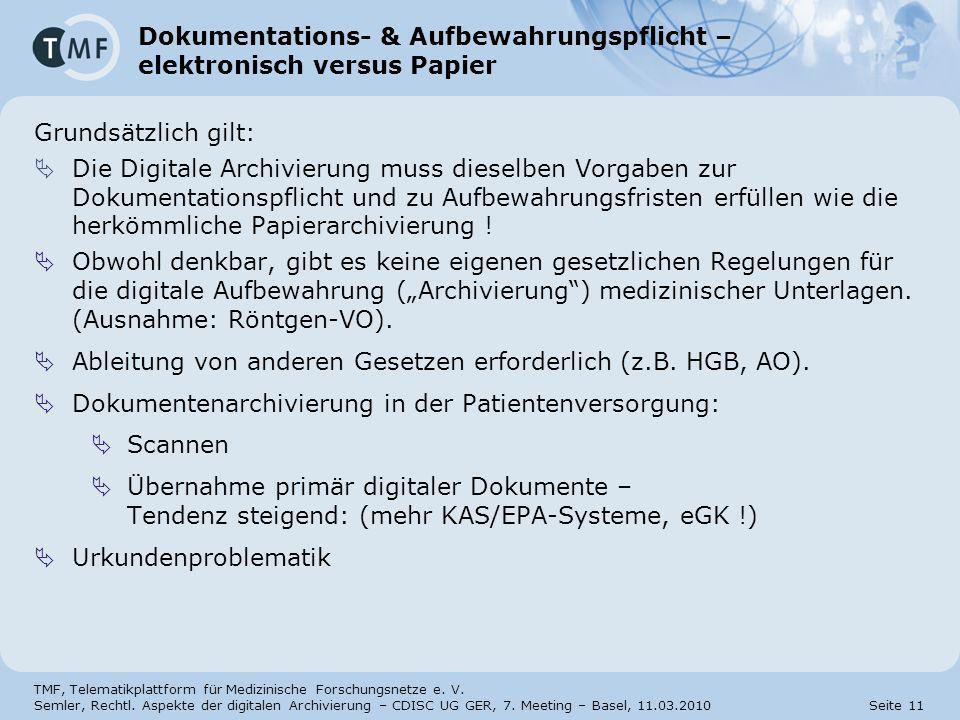 Dokumentations- & Aufbewahrungspflicht – elektronisch versus Papier