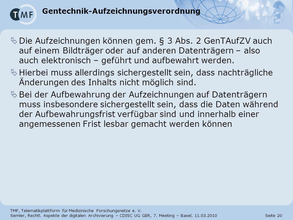 Gentechnik-Aufzeichnungsverordnung