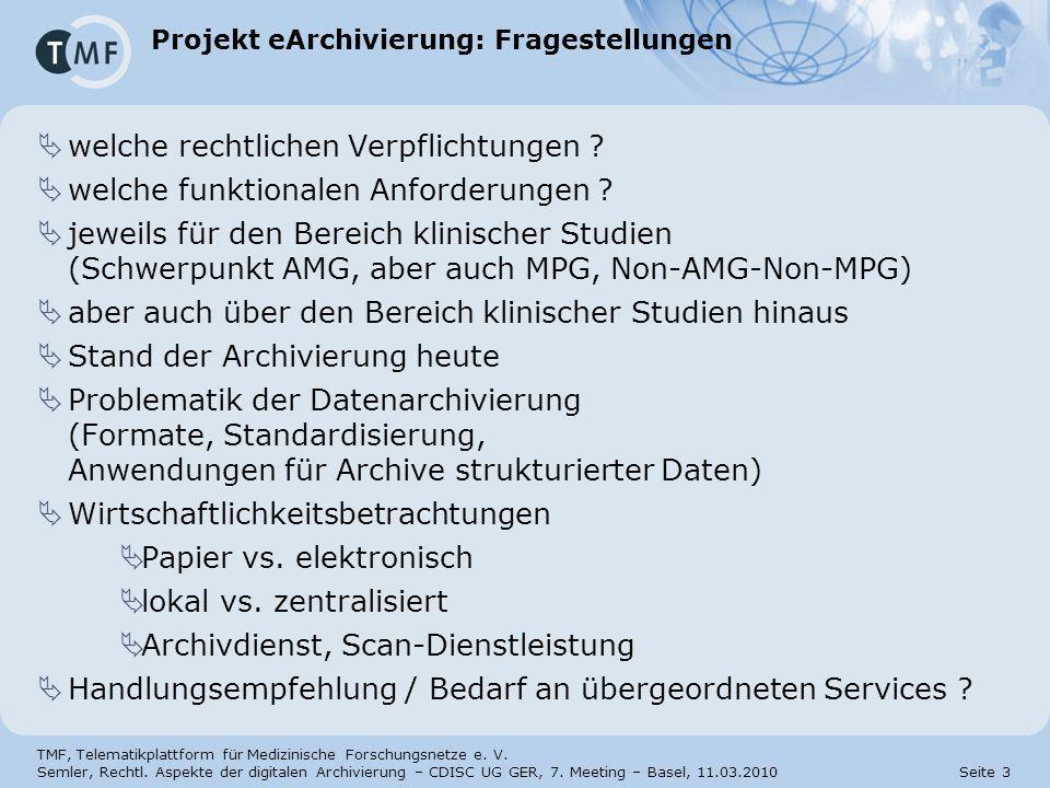 Projekt eArchivierung: Fragestellungen