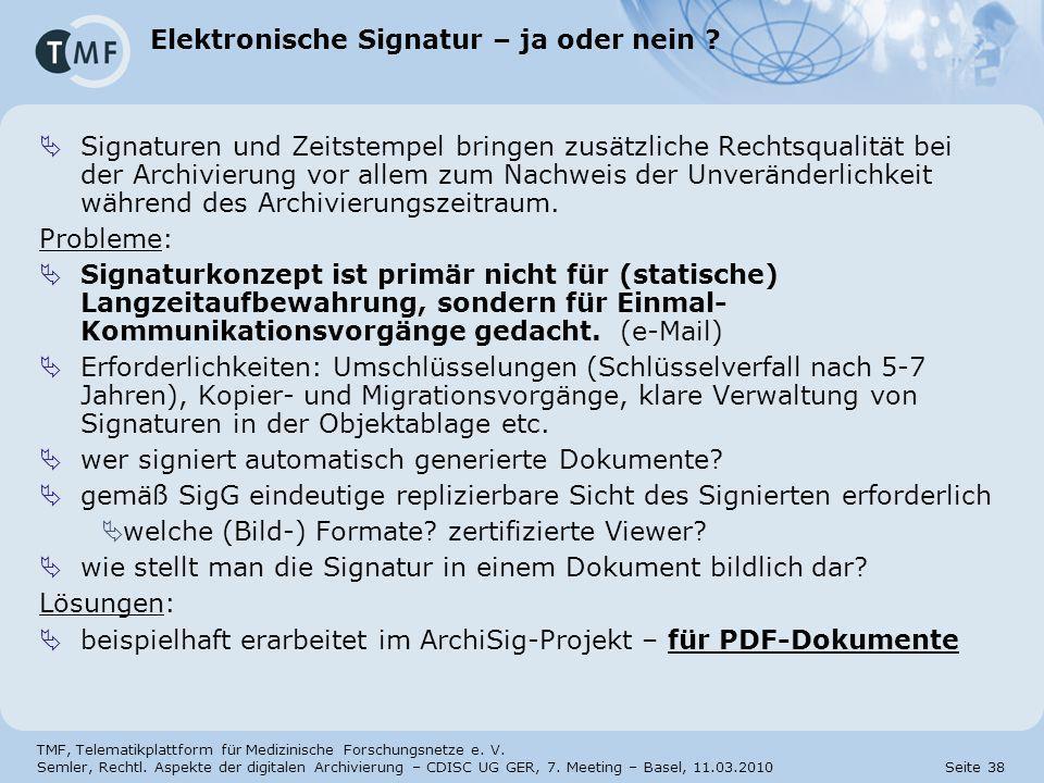 Elektronische Signatur – ja oder nein