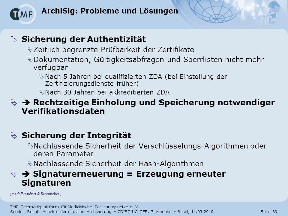 ArchiSig: Probleme und Lösungen