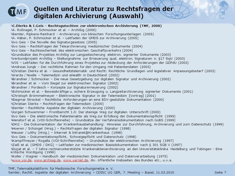 31.03.2017 Quellen und Literatur zu Rechtsfragen der digitalen Archivierung (Auswahl)