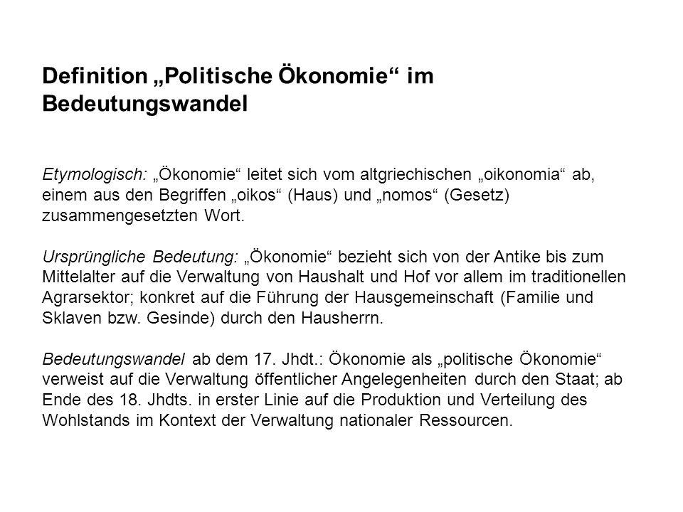 """Definition """"Politische Ökonomie im Bedeutungswandel"""