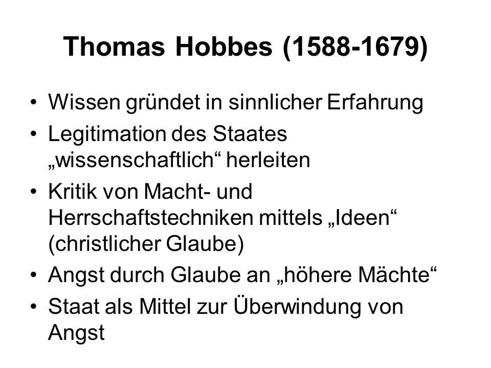 Thomas Hobbes (1588-1679) Wissen gründet in sinnlicher Erfahrung