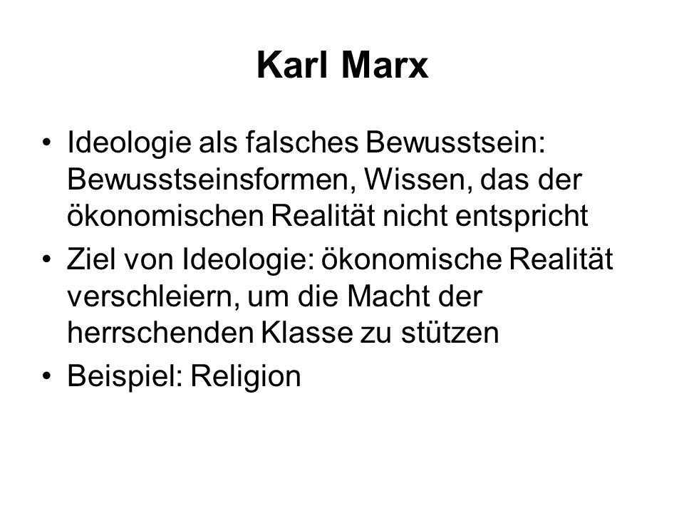 Karl Marx Ideologie als falsches Bewusstsein: Bewusstseinsformen, Wissen, das der ökonomischen Realität nicht entspricht.