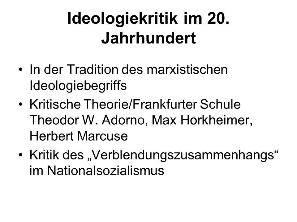Ideologiekritik im 20. Jahrhundert