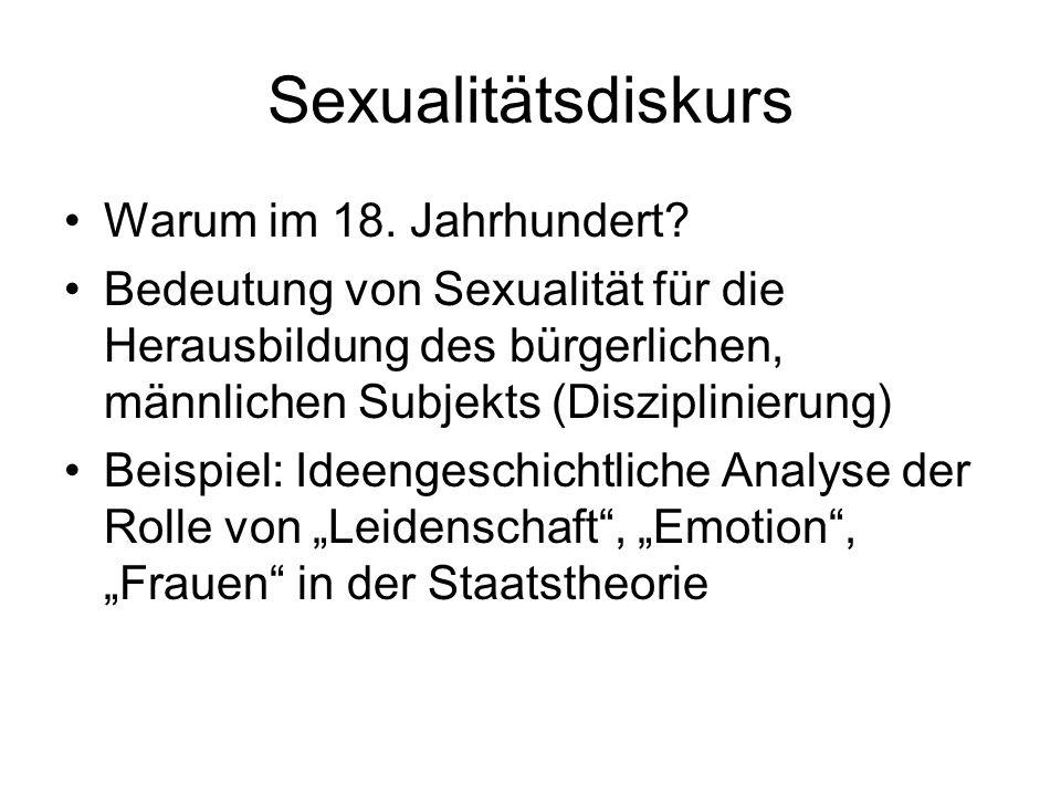 Sexualitätsdiskurs Warum im 18. Jahrhundert