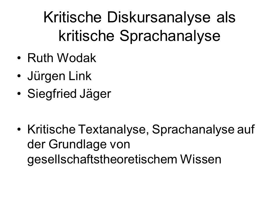 Kritische Diskursanalyse als kritische Sprachanalyse