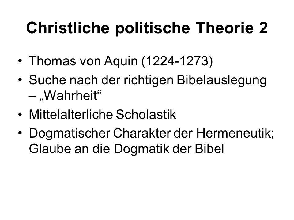 Christliche politische Theorie 2