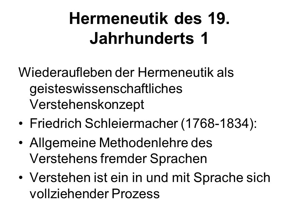 Hermeneutik des 19. Jahrhunderts 1