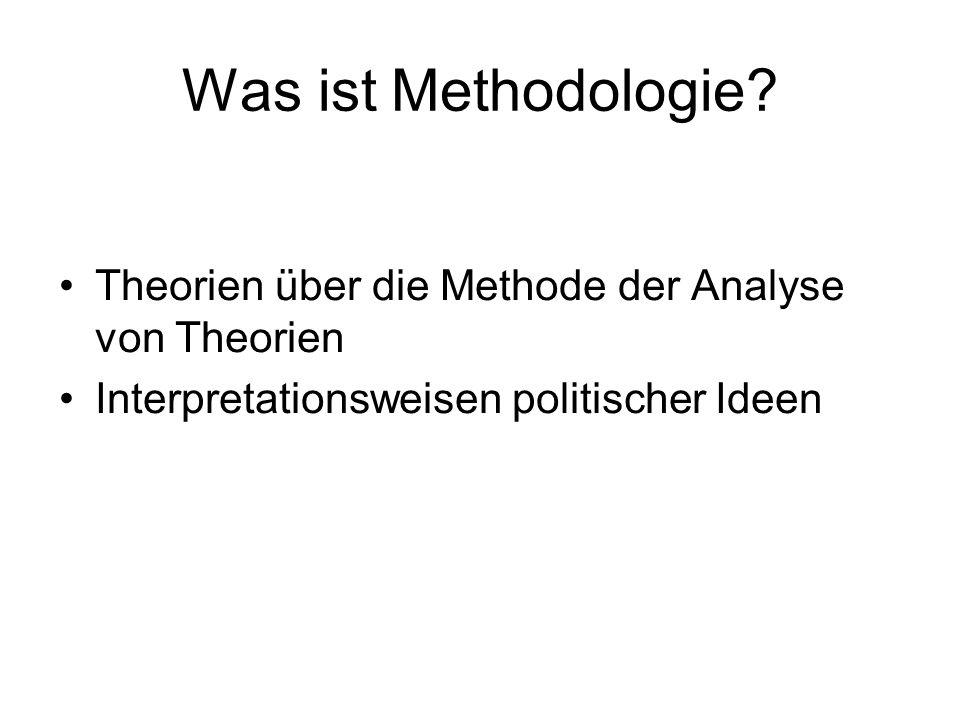 Was ist Methodologie. Theorien über die Methode der Analyse von Theorien.