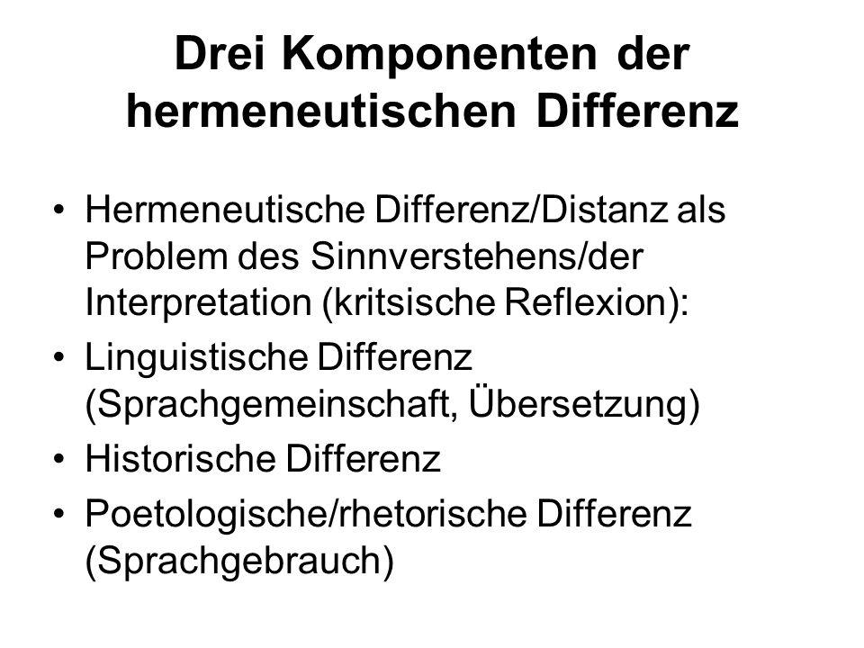 Drei Komponenten der hermeneutischen Differenz