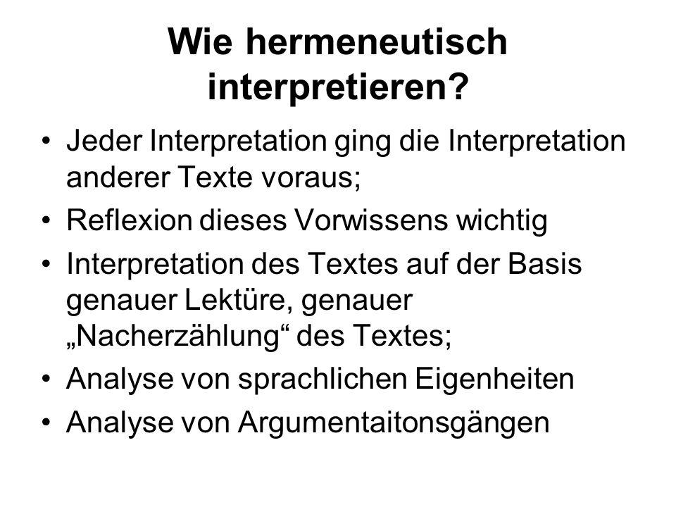 Wie hermeneutisch interpretieren