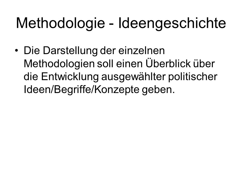 Methodologie - Ideengeschichte