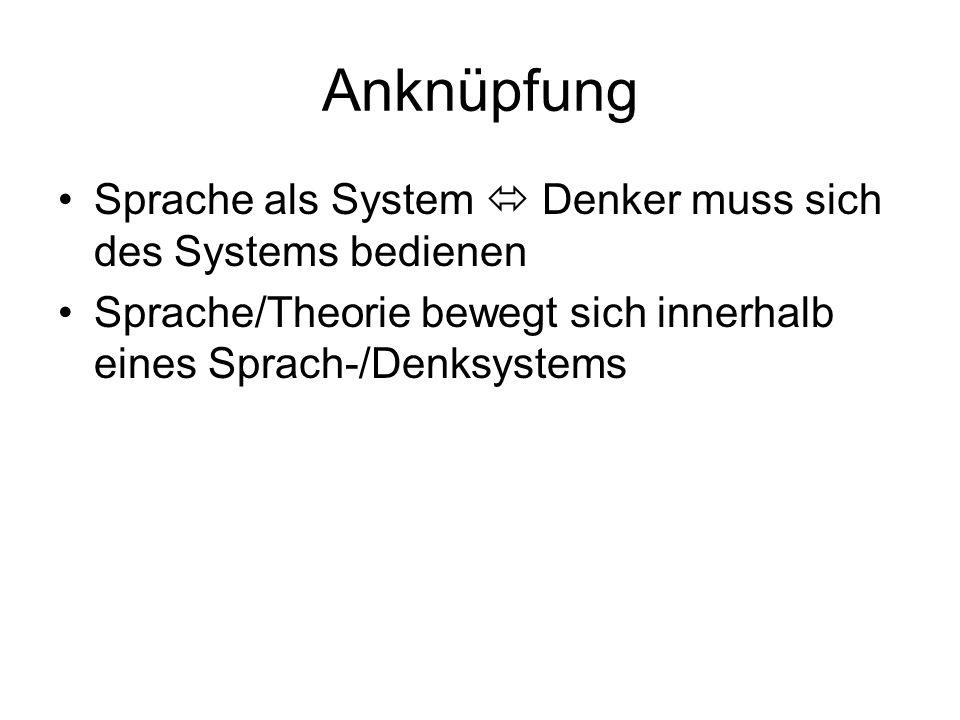 Anknüpfung Sprache als System  Denker muss sich des Systems bedienen