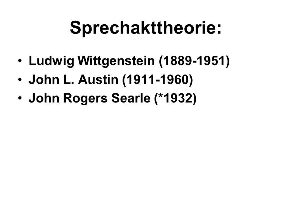 Sprechakttheorie: Ludwig Wittgenstein (1889-1951)