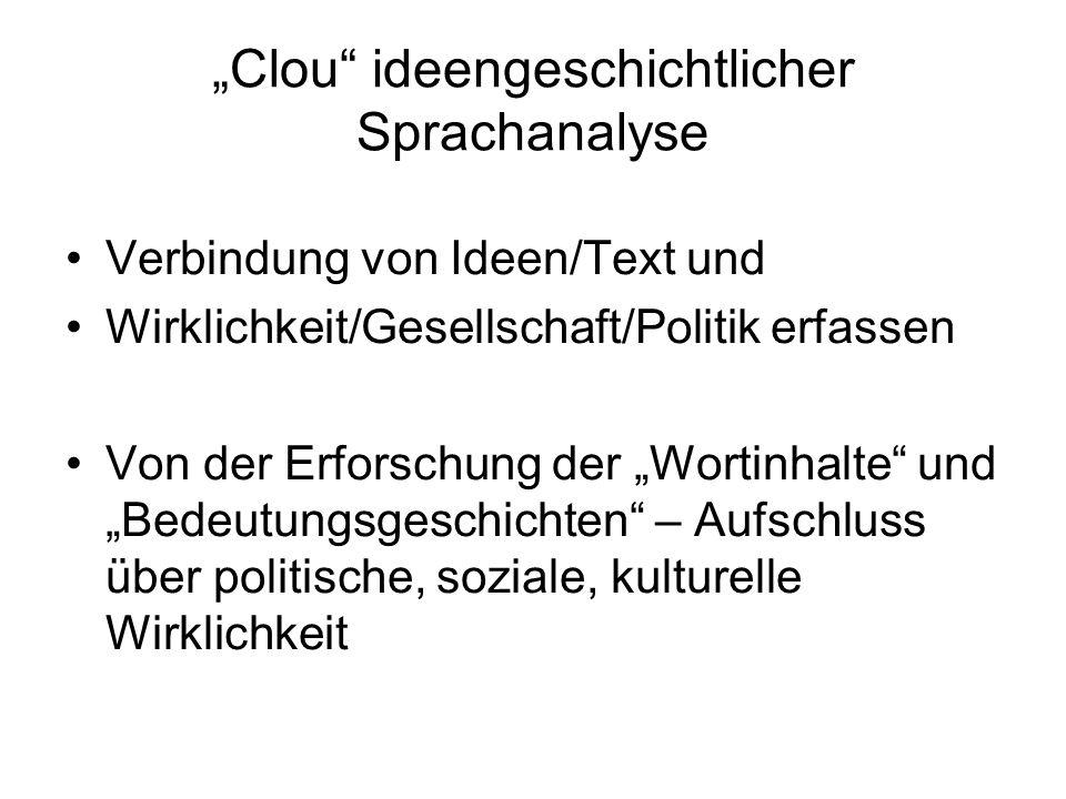 """""""Clou ideengeschichtlicher Sprachanalyse"""