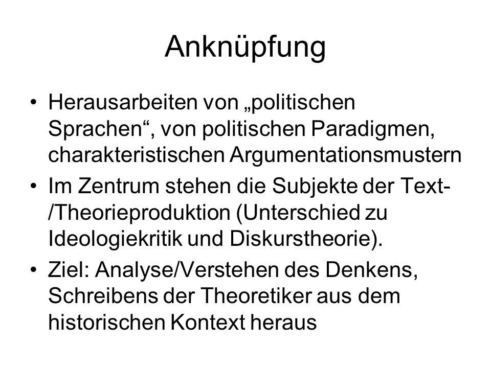 """Anknüpfung Herausarbeiten von """"politischen Sprachen , von politischen Paradigmen, charakteristischen Argumentationsmustern."""