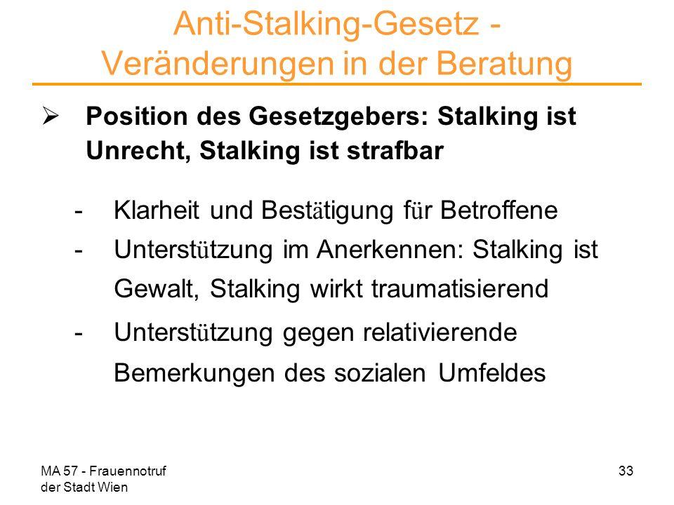 Anti-Stalking-Gesetz - Veränderungen in der Beratung