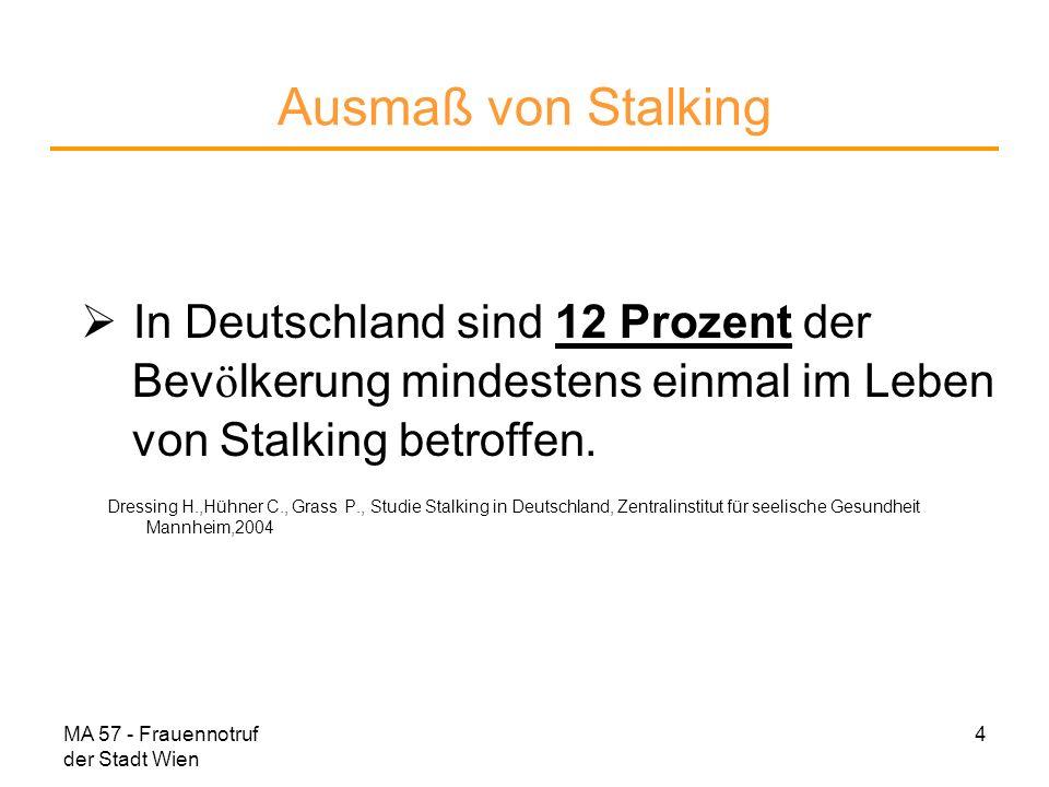 Ausmaß von Stalking In Deutschland sind 12 Prozent der